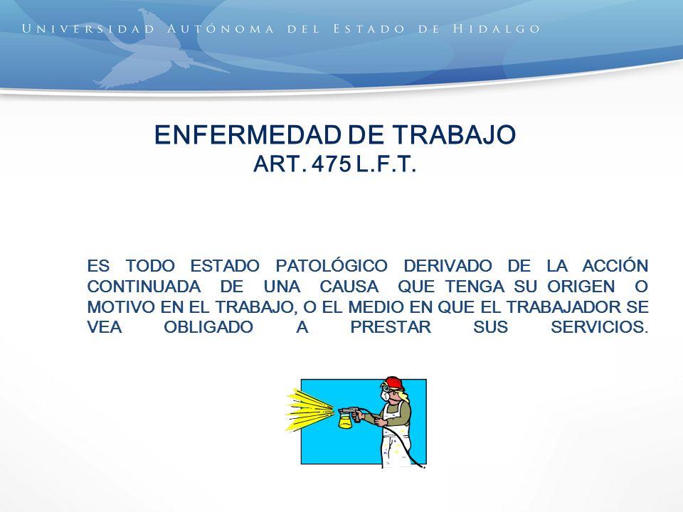 ENFERMEDAD DE TRABAJO ART. 475 L.F.T.