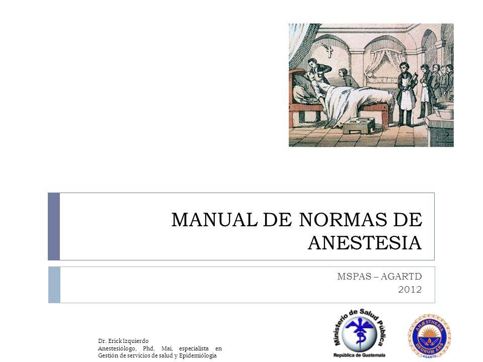 MANUAL DE NORMAS DE ANESTESIA