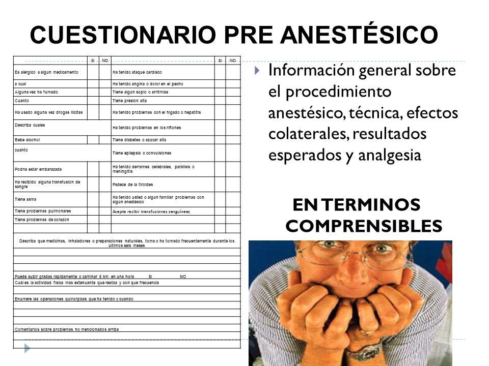 CUESTIONARIO PRE ANESTÉSICO
