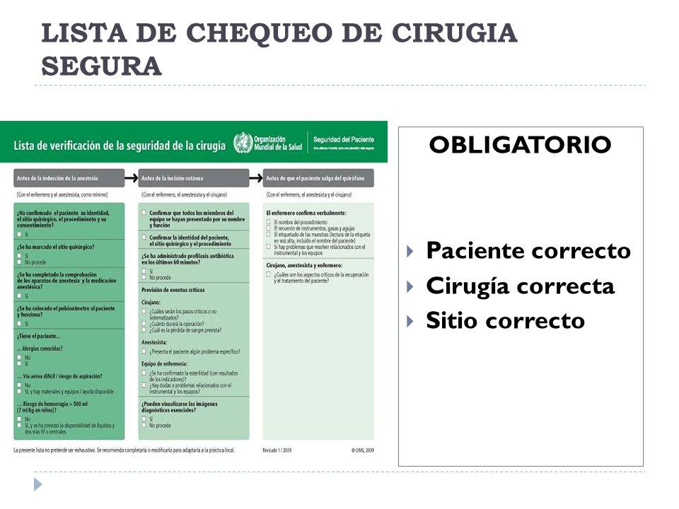 LISTA DE CHEQUEO DE CIRUGIA SEGURA