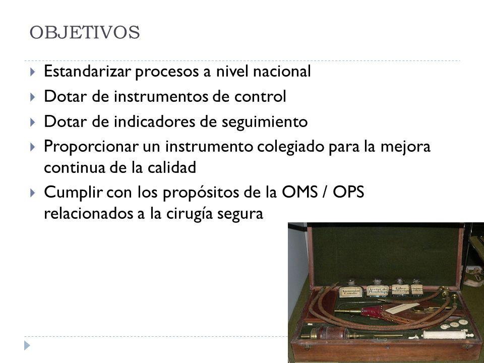OBJETIVOS Estandarizar procesos a nivel nacional