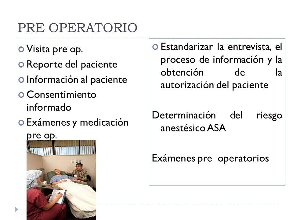 PRE OPERATORIO Estandarizar la entrevista, el proceso de información y la obtención de la autorización del paciente.