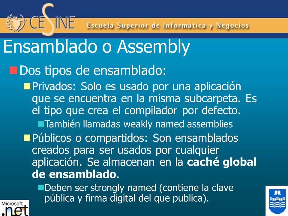 Ensamblado o Assembly Dos tipos de ensamblado: