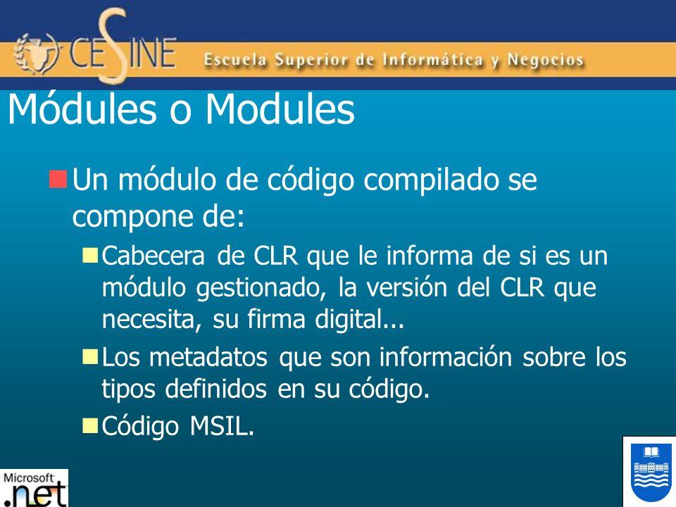 Módules o Modules Un módulo de código compilado se compone de: