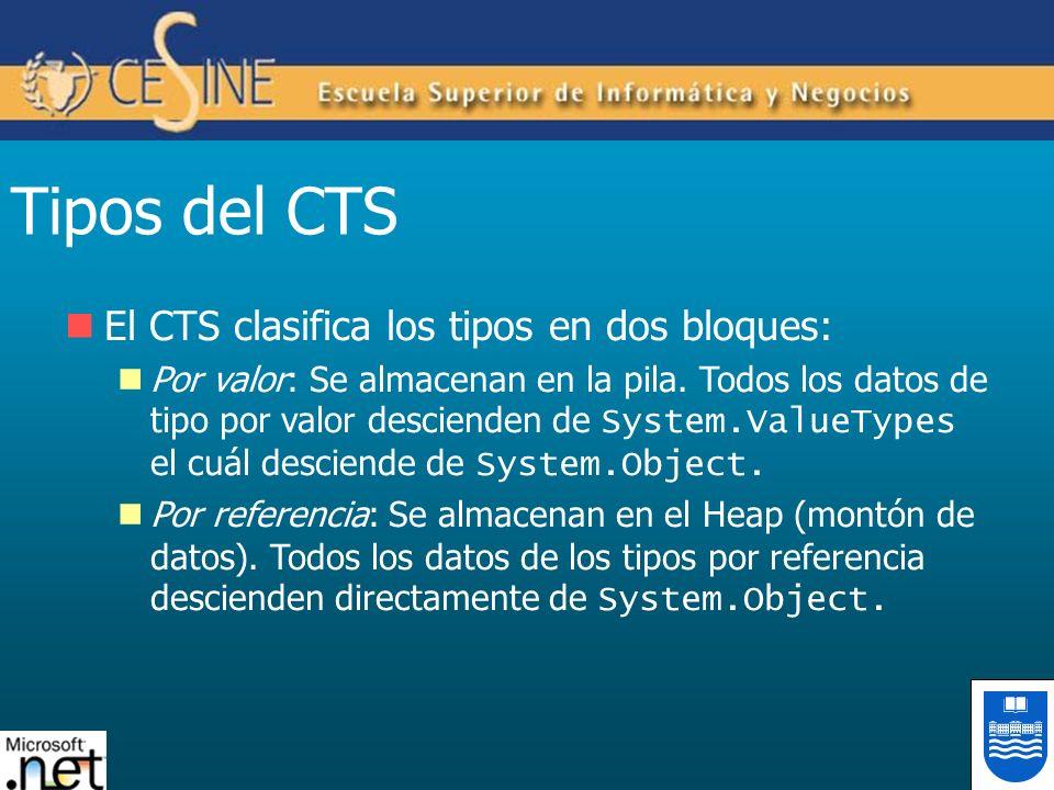 Tipos del CTS El CTS clasifica los tipos en dos bloques: