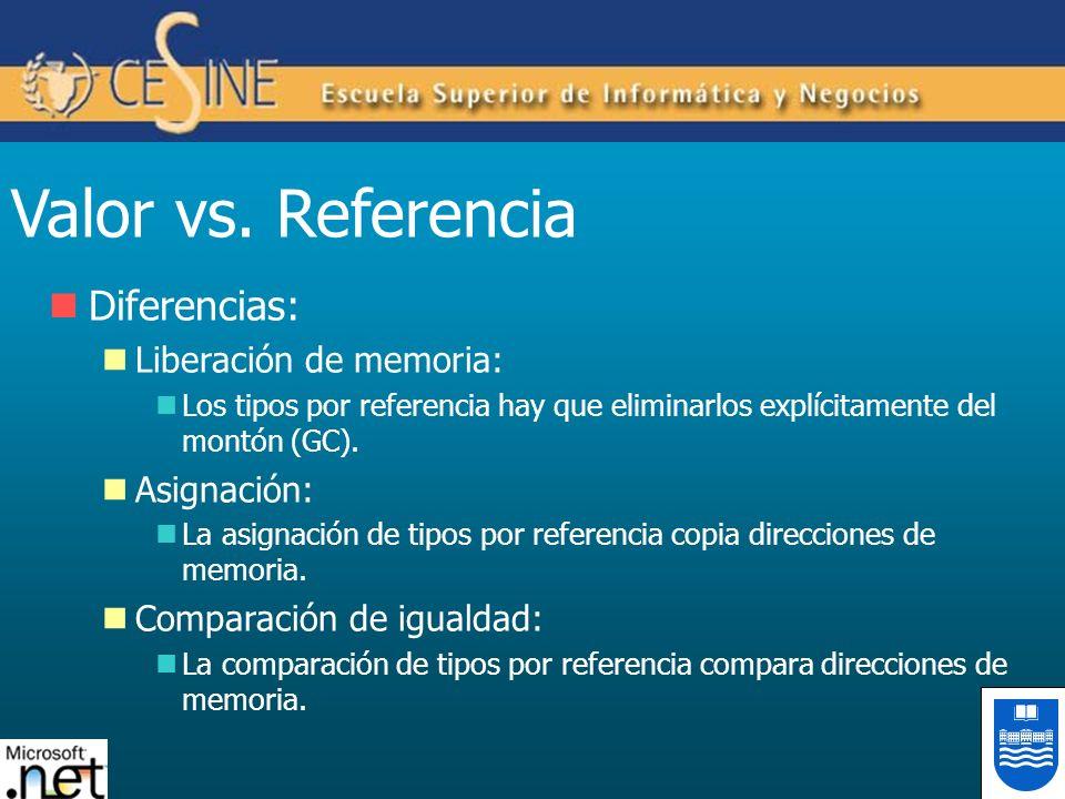 Valor vs. Referencia Diferencias: Liberación de memoria: Asignación: