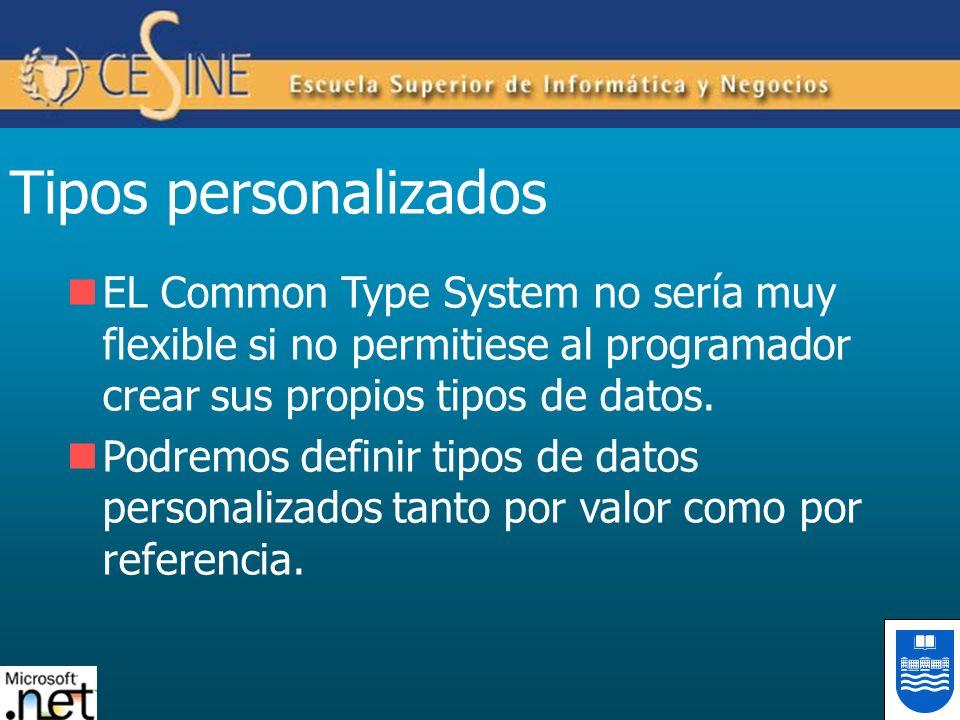 Tipos personalizados EL Common Type System no sería muy flexible si no permitiese al programador crear sus propios tipos de datos.