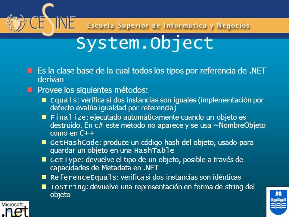 System.ObjectEs la clase base de la cual todos los tipos por referencia de .NET derivan. Provee los siguientes métodos: