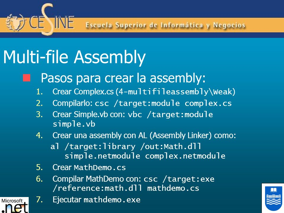 Multi-file Assembly Pasos para crear la assembly: