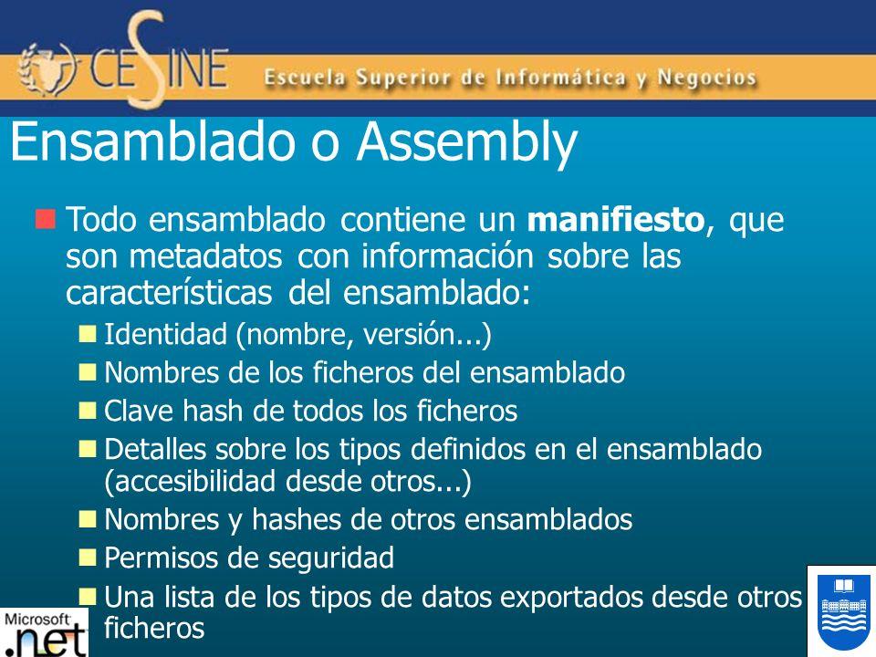 Ensamblado o Assembly Todo ensamblado contiene un manifiesto, que son metadatos con información sobre las características del ensamblado: