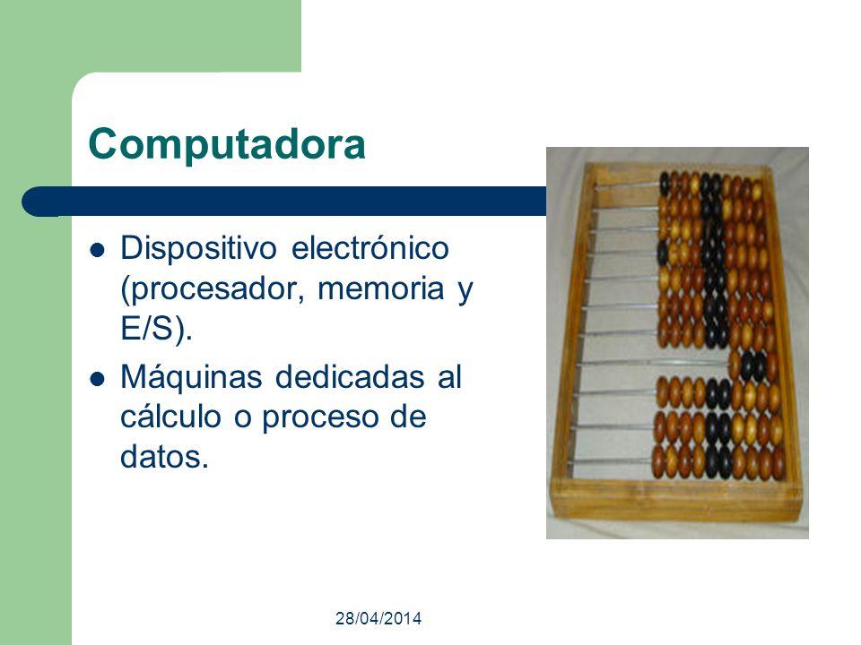 Computadora Dispositivo electrónico (procesador, memoria y E/S).
