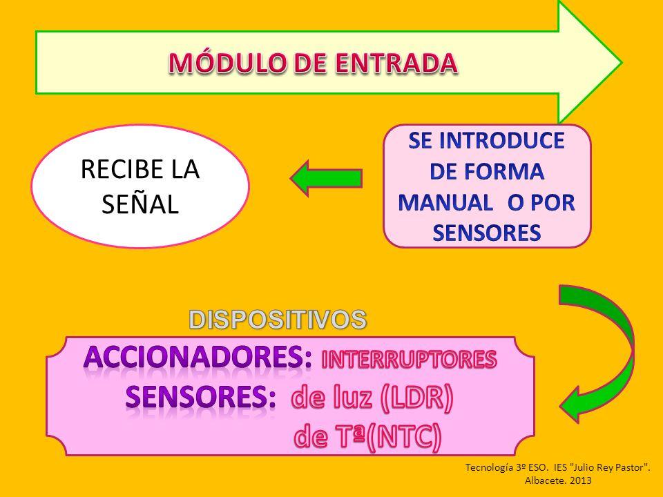 ACCIONADORES: INTERRUPTORES SENSORES: de luz (LDR) de Tª(NTC)