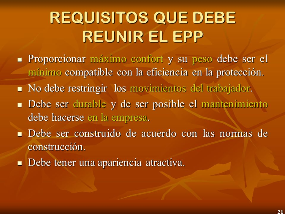 REQUISITOS QUE DEBE REUNIR EL EPP