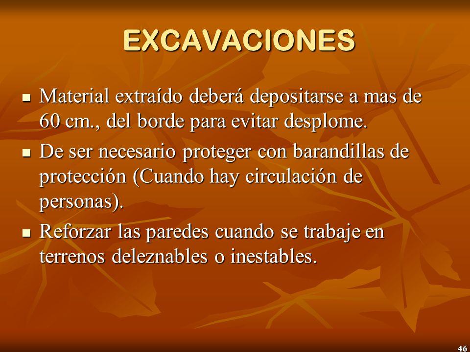 EXCAVACIONES Material extraído deberá depositarse a mas de 60 cm., del borde para evitar desplome.