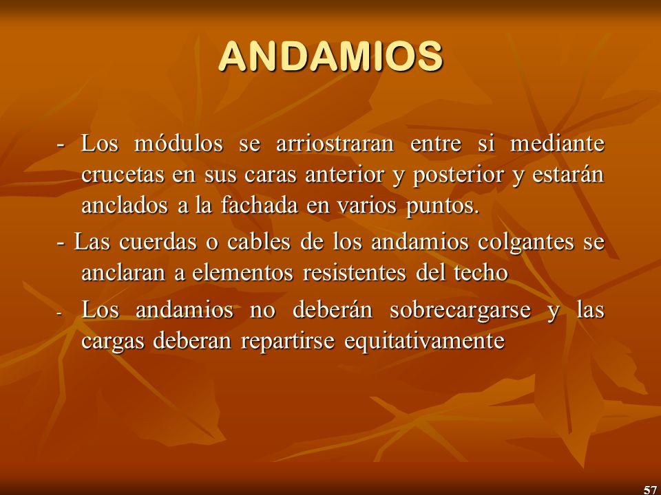 ANDAMIOS - Los módulos se arriostraran entre si mediante crucetas en sus caras anterior y posterior y estarán anclados a la fachada en varios puntos.