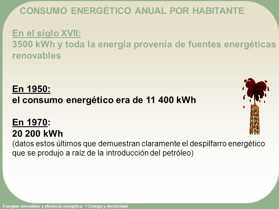 CONSUMO ENERGÉTICO ANUAL POR HABITANTE En el siglo XVII: