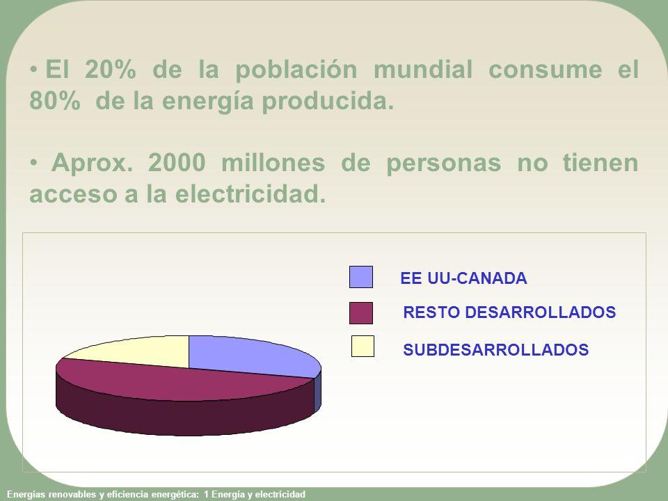 El 20% de la población mundial consume el 80% de la energía producida.