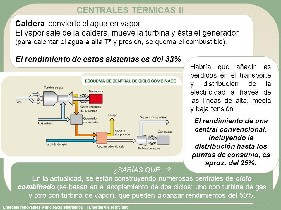 CENTRALES TÉRMICAS II Caldera: convierte el agua en vapor.