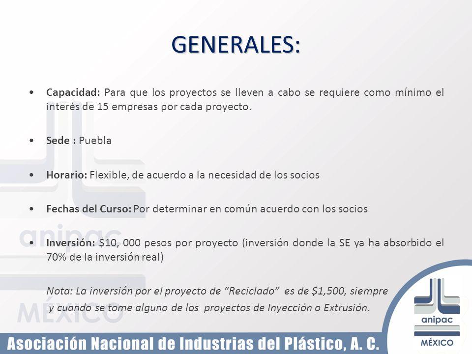GENERALES: Capacidad: Para que los proyectos se lleven a cabo se requiere como mínimo el interés de 15 empresas por cada proyecto.
