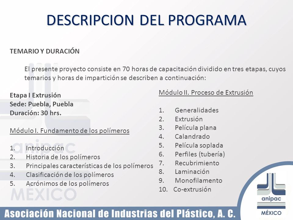 DESCRIPCION DEL PROGRAMA