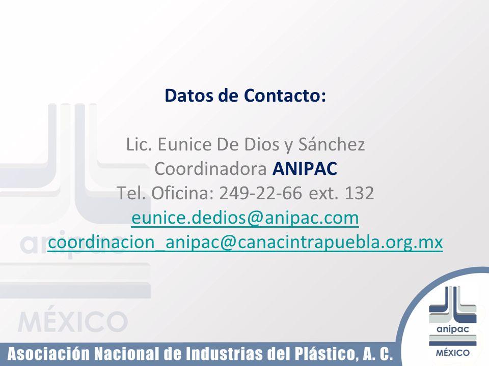 Datos de Contacto: Lic. Eunice De Dios y Sánchez Coordinadora ANIPAC Tel. Oficina: 249-22-66 ext. 132 eunice.dedios@anipac.com