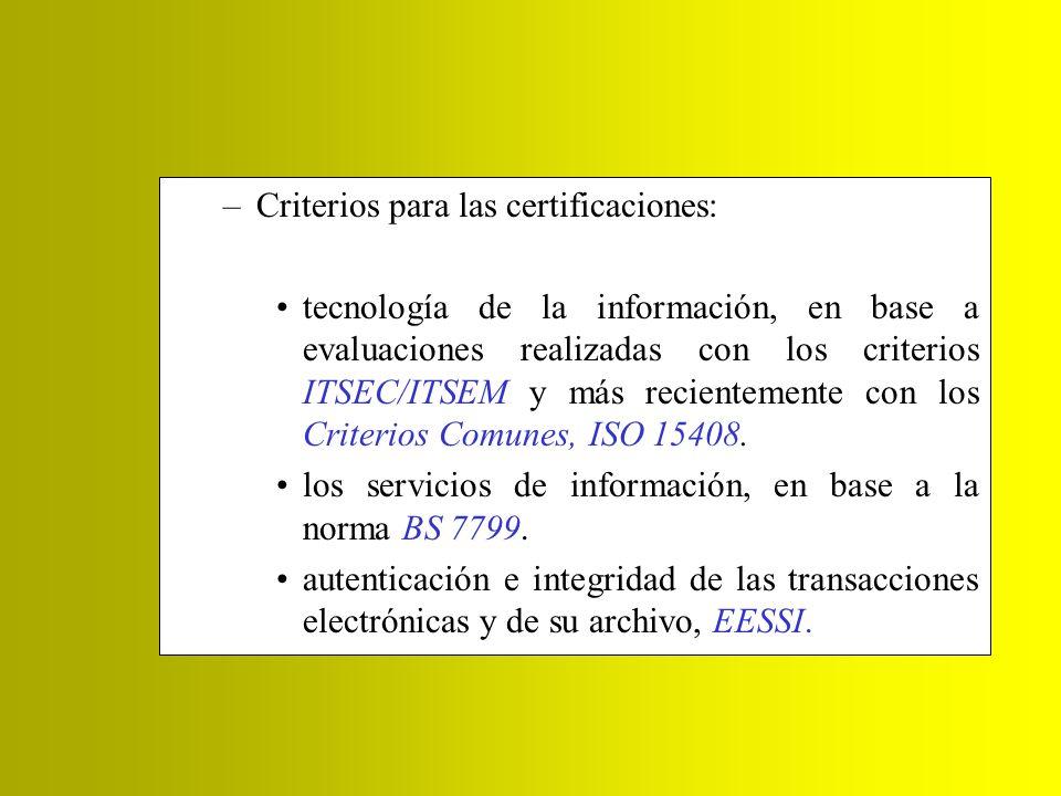 Criterios para las certificaciones: