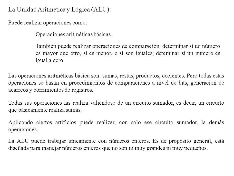 La Unidad Aritmética y Lógica (ALU):