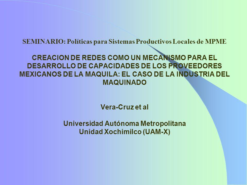 SEMINARIO: Políticas para Sistemas Productivos Locales de MPME CREACION DE REDES COMO UN MECANISMO PARA EL DESARROLLO DE CAPACIDADES DE LOS PROVEEDORES MEXICANOS DE LA MAQUILA: EL CASO DE LA INDUSTRIA DEL MAQUINADO Vera-Cruz et al Universidad Autónoma Metropolitana Unidad Xochimilco (UAM-X)