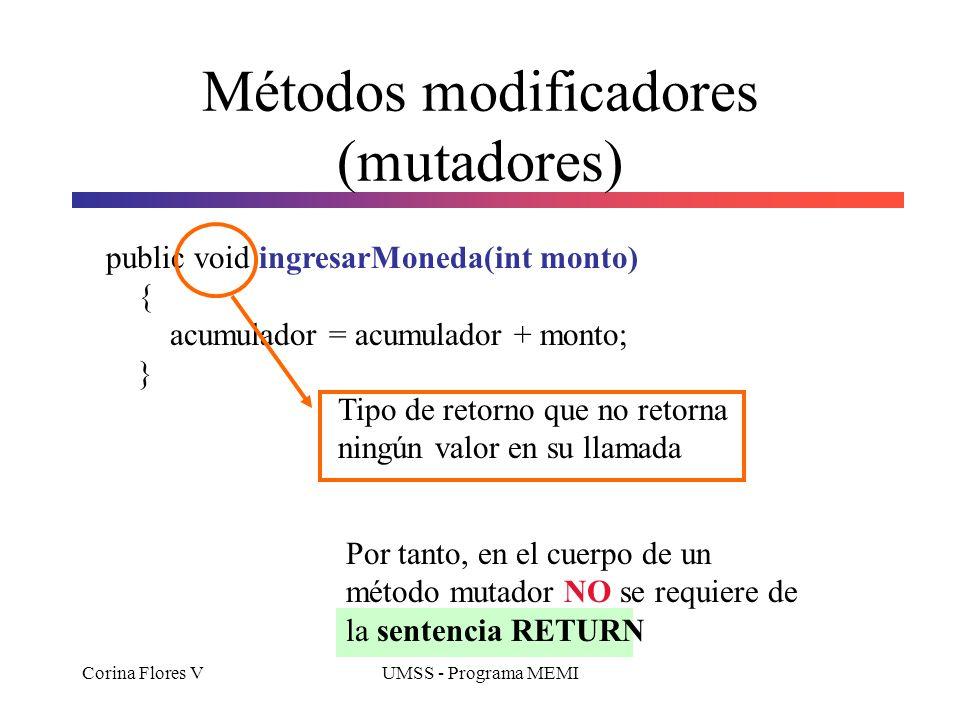 Métodos modificadores (mutadores)