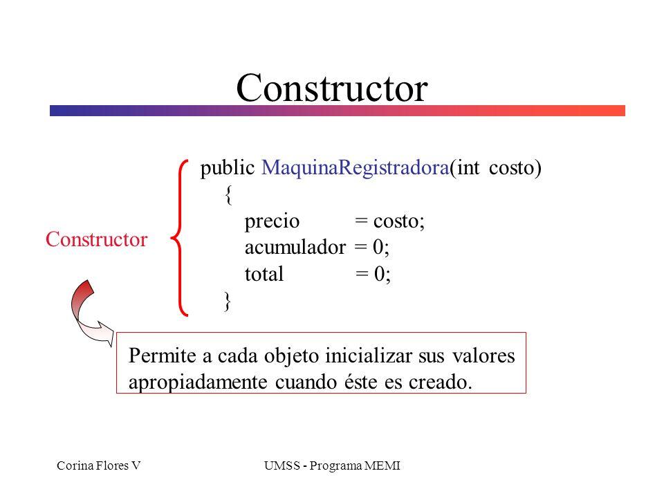 Constructor public MaquinaRegistradora(int costo) { precio = costo;