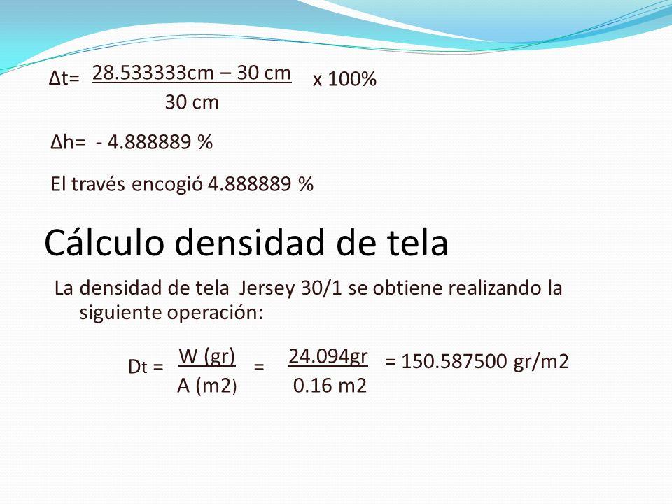 Cálculo densidad de tela
