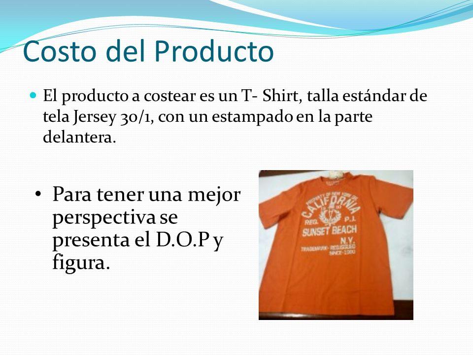 Costo del Producto El producto a costear es un T- Shirt, talla estándar de tela Jersey 30/1, con un estampado en la parte delantera.
