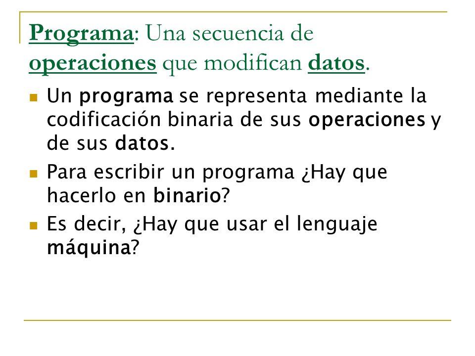 Programa: Una secuencia de operaciones que modifican datos.
