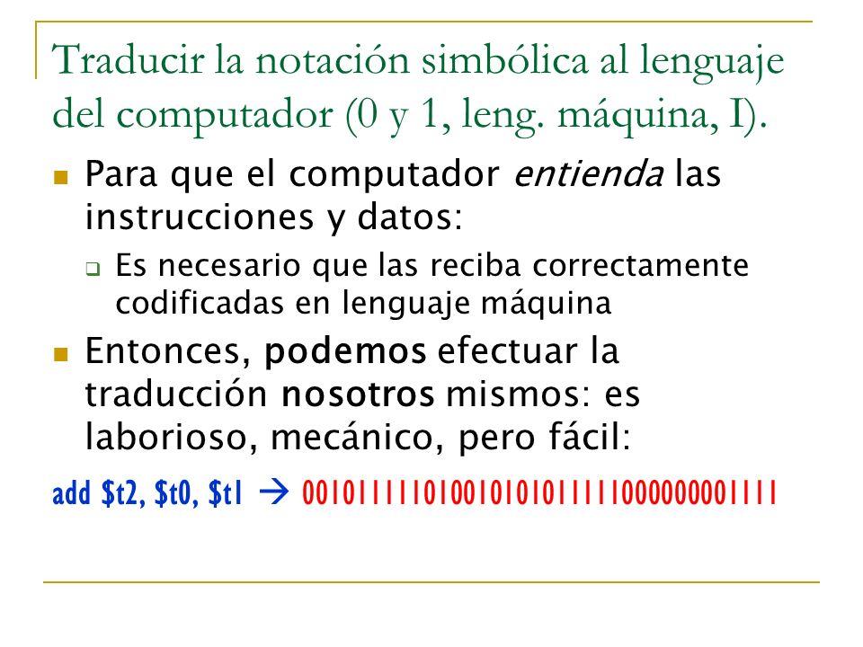 Traducir la notación simbólica al lenguaje del computador (0 y 1, leng