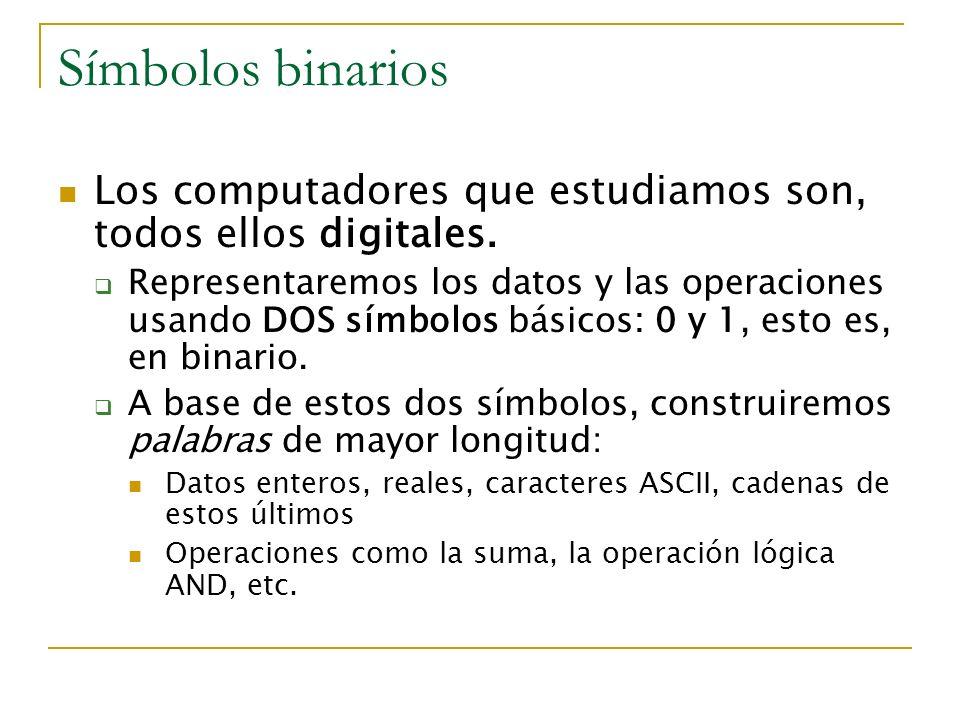 Símbolos binarios Los computadores que estudiamos son, todos ellos digitales.