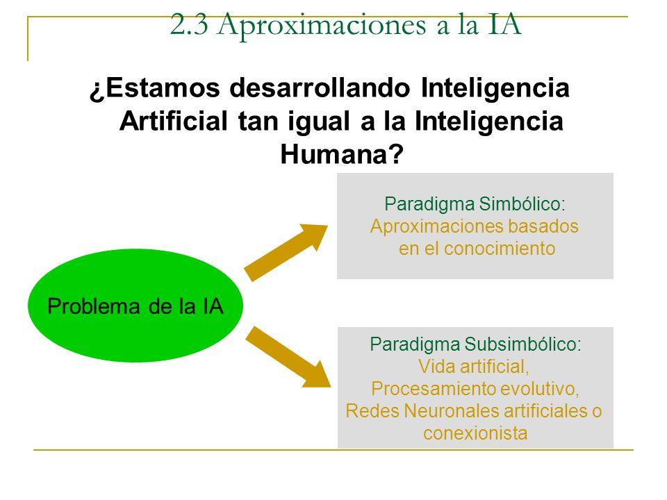 2.3 Aproximaciones a la IA ¿Estamos desarrollando Inteligencia Artificial tan igual a la Inteligencia Humana