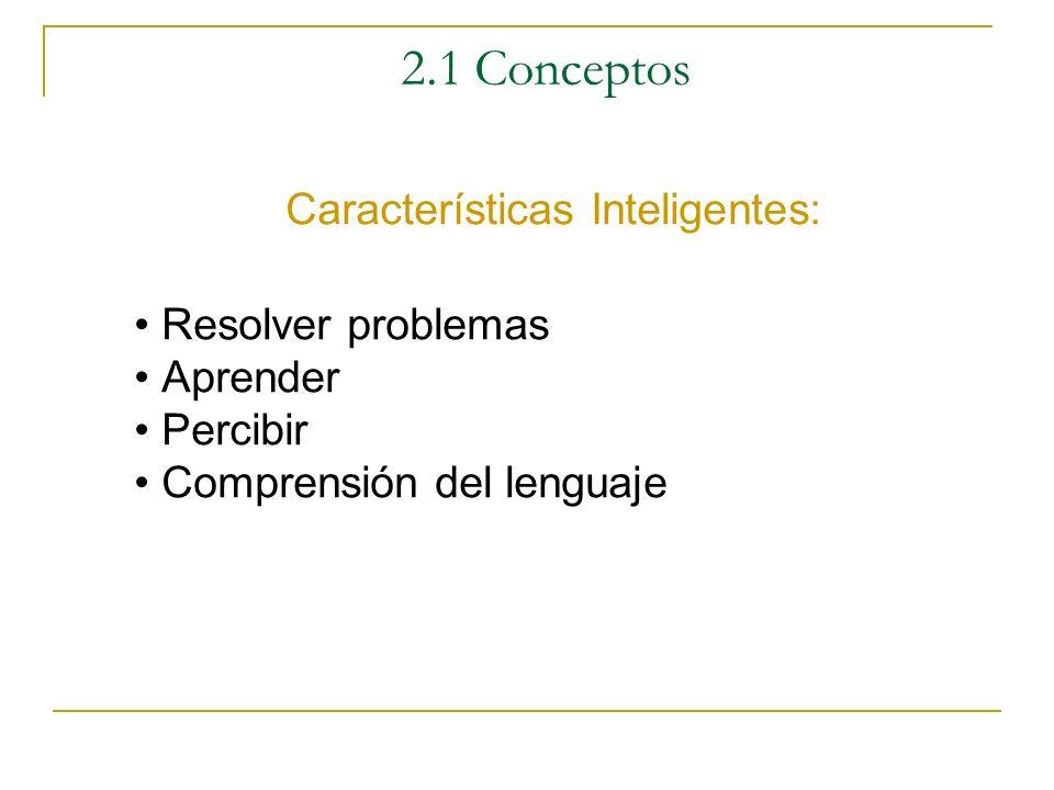 2.1 Conceptos Características Inteligentes: