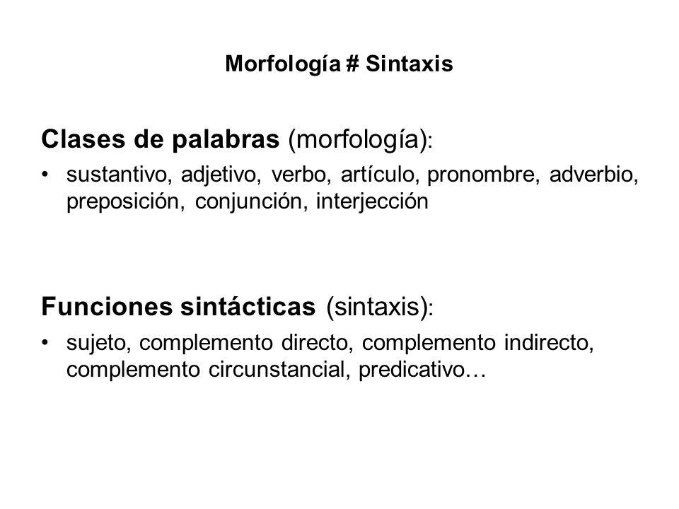 Clases de palabras (morfología):