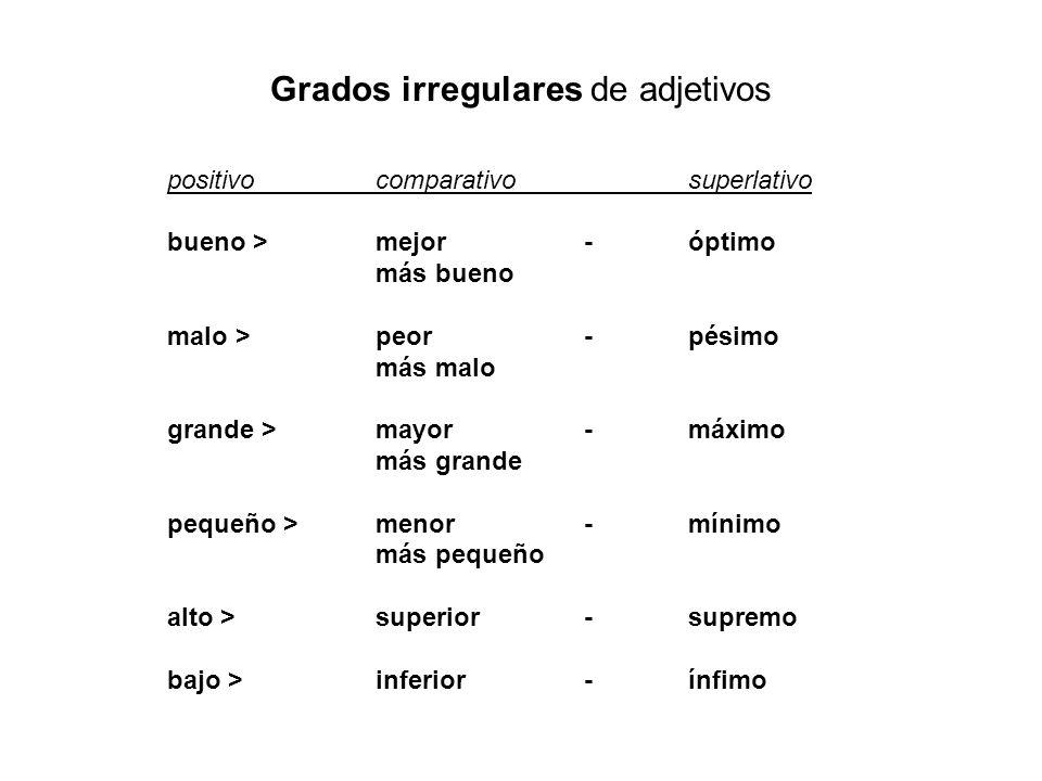 Grados irregulares de adjetivos