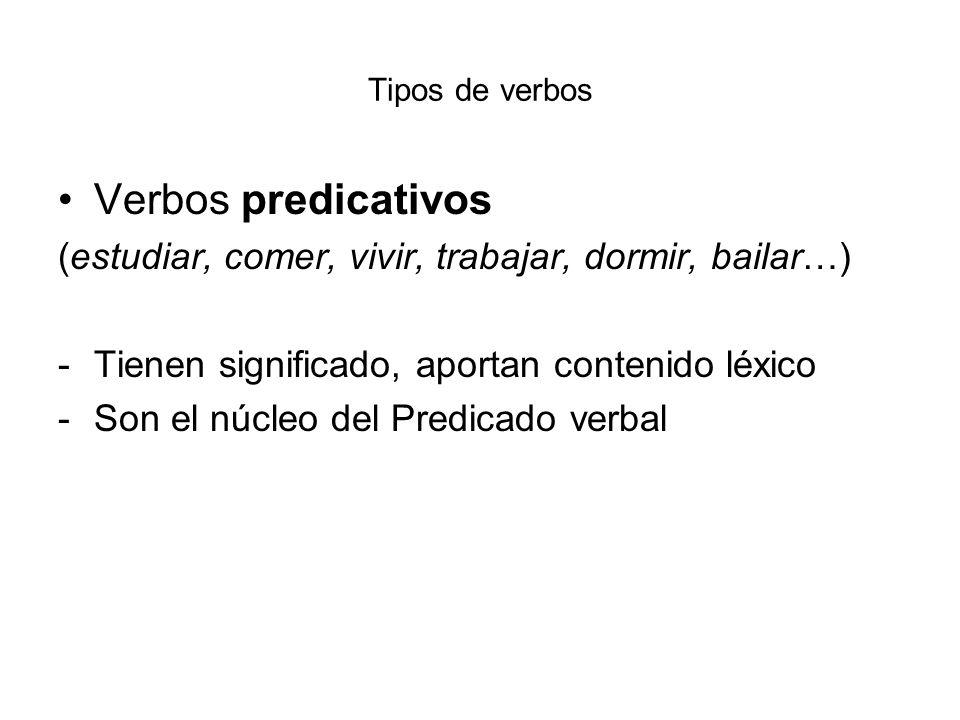 Tipos de verbos Verbos predicativos. (estudiar, comer, vivir, trabajar, dormir, bailar…) Tienen significado, aportan contenido léxico.