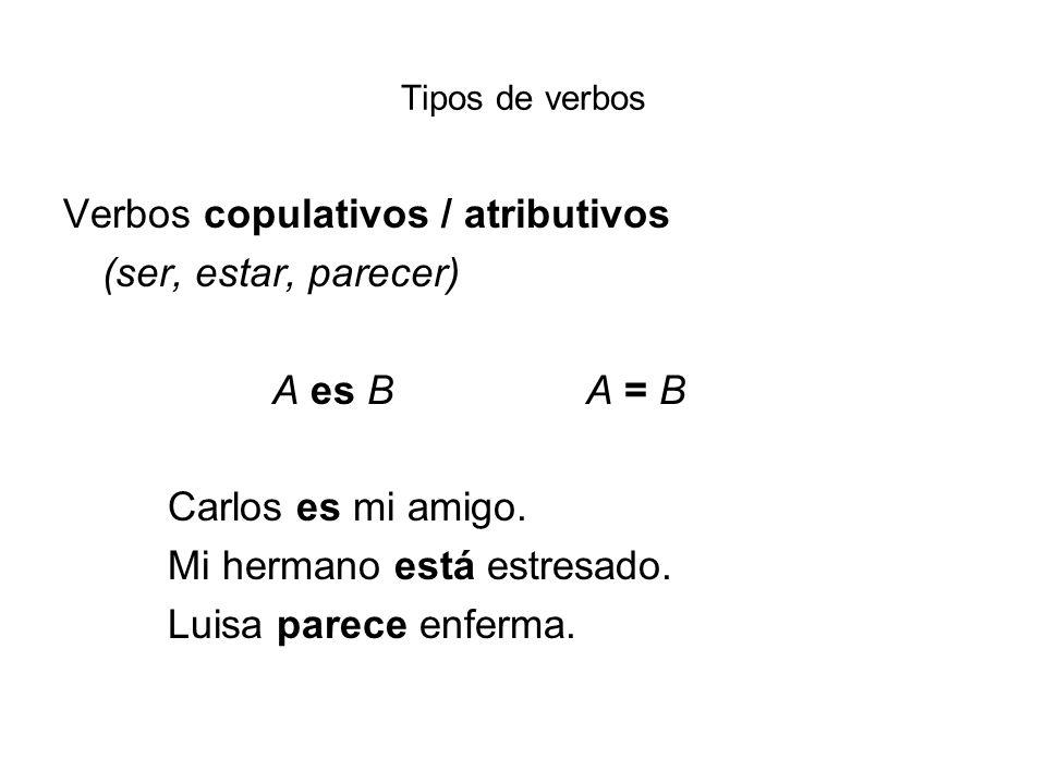 Verbos copulativos / atributivos (ser, estar, parecer) A es B A = B