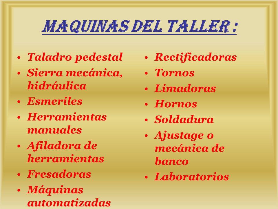 MAQUINAS DEL TALLER : Taladro pedestal Sierra mecánica, hidráulica