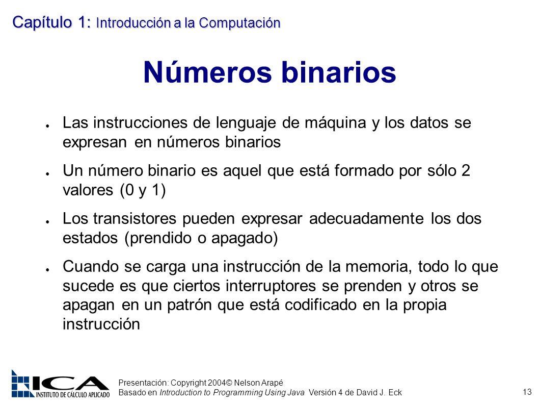 Números binarios Las instrucciones de lenguaje de máquina y los datos se expresan en números binarios.