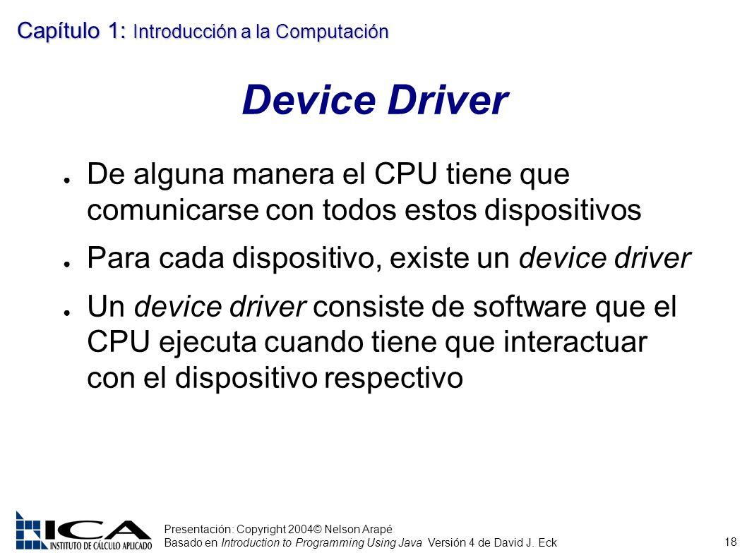 Device Driver De alguna manera el CPU tiene que comunicarse con todos estos dispositivos. Para cada dispositivo, existe un device driver.