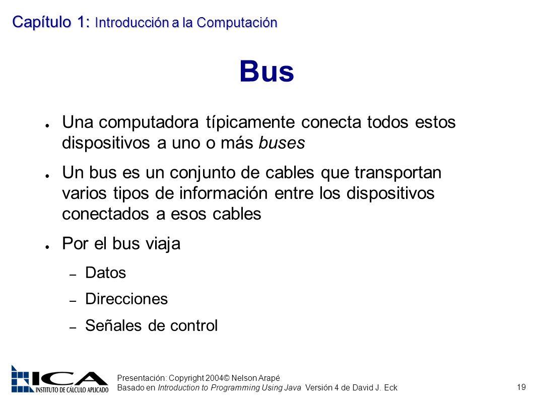 Bus Una computadora típicamente conecta todos estos dispositivos a uno o más buses.
