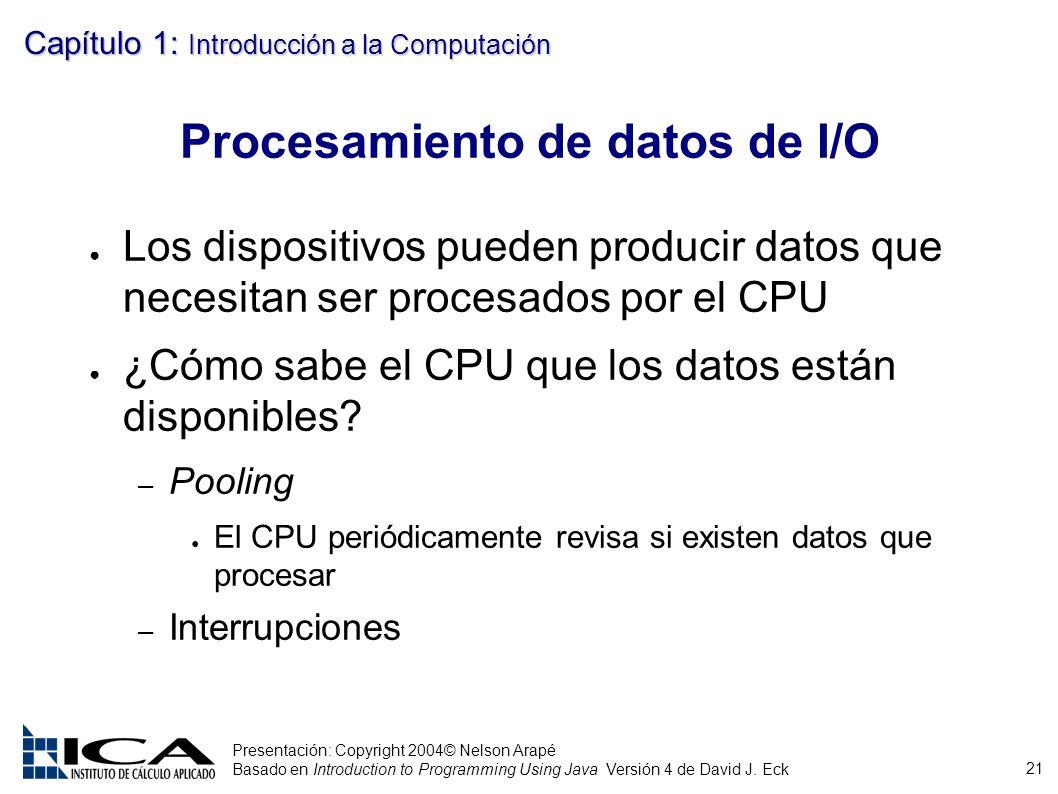 Procesamiento de datos de I/O