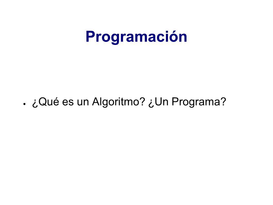 Programación ¿Qué es un Algoritmo ¿Un Programa