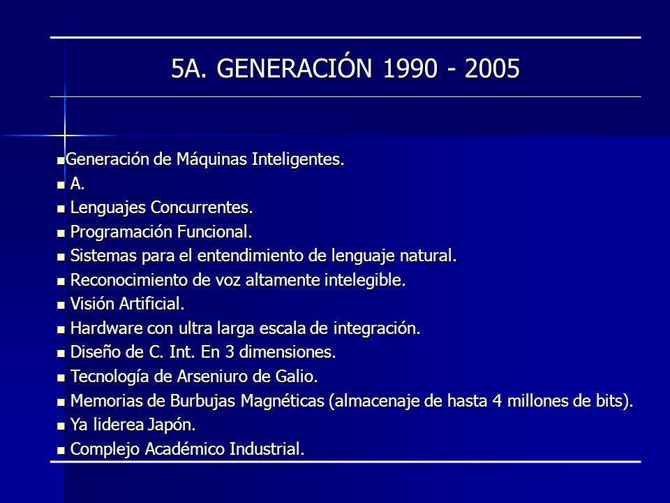 5A. GENERACIÓN 1990 - 2005 Generación de Máquinas Inteligentes. A.