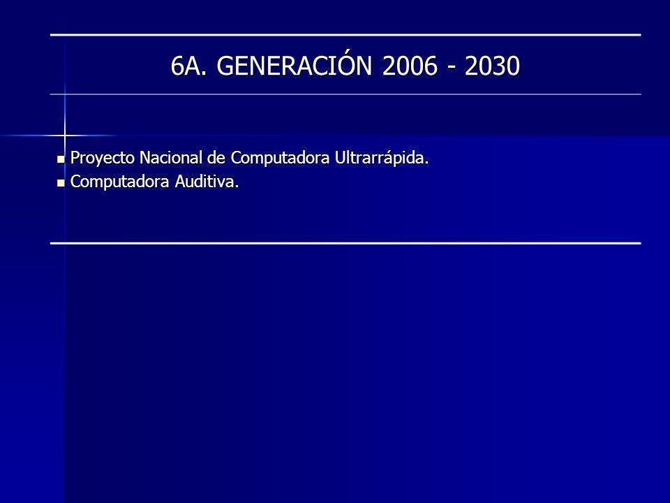 6A. GENERACIÓN 2006 - 2030 Proyecto Nacional de Computadora Ultrarrápida. Computadora Auditiva.