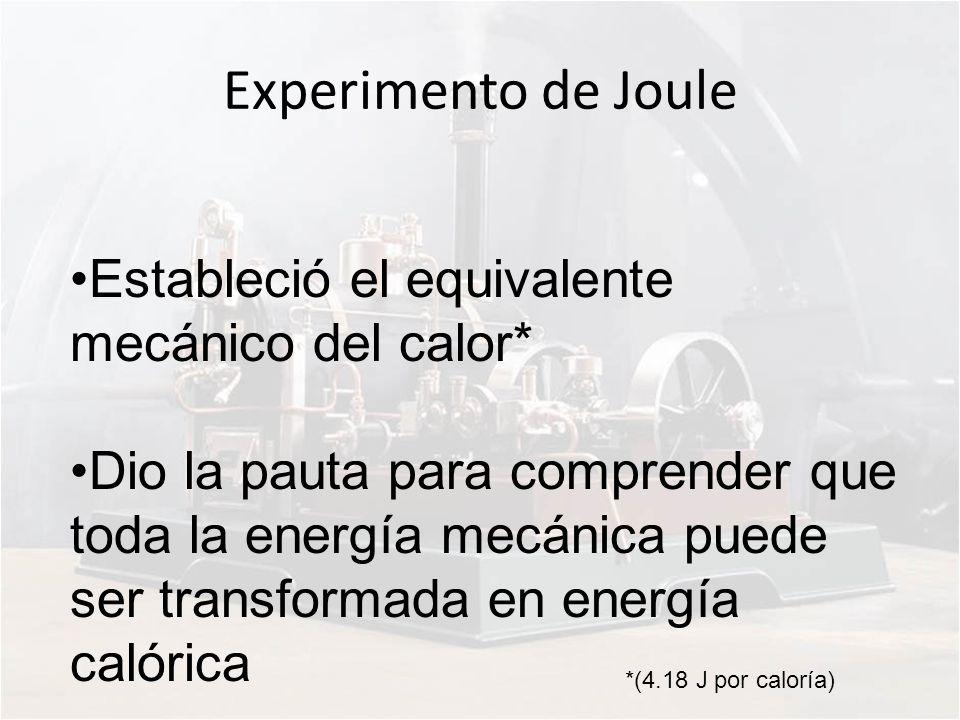 Experimento de Joule Estableció el equivalente mecánico del calor*